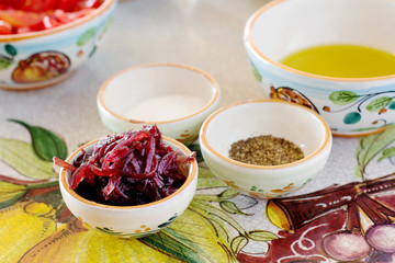 mediterranean ingredients over ceramic decorative table