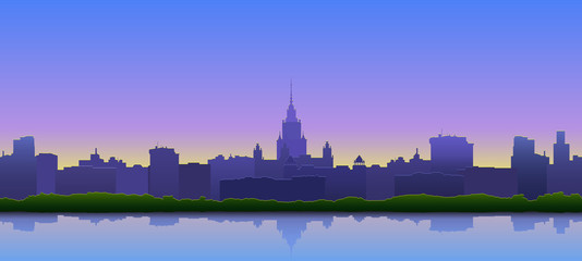 Vector illustration. Summer view of the city at sunset