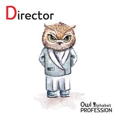 Alphabet professions Owl Letter D - Director character Vector