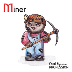 Alphabet professions Owl Letter M - Miner character Vector