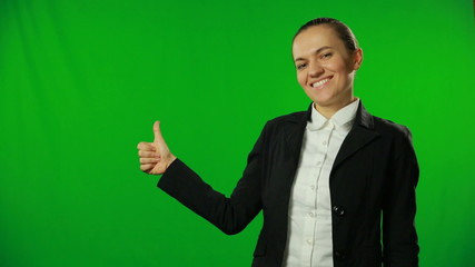 Young businesswoman showing thumb up. FULL HD