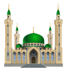 Vector illustration. Small mosque with four minarets