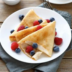 ruddy summer pancakes with raspberries