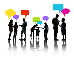Group of people discussing with speech bubbles