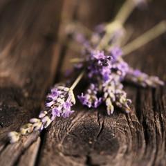 Lavender over wood background