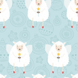 Christmas background with sheep