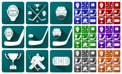 Vector illustration. Set of icons on the theme of hockey