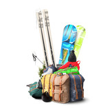 Fototapety Baggage tourist skier and snowboarder, winter travel