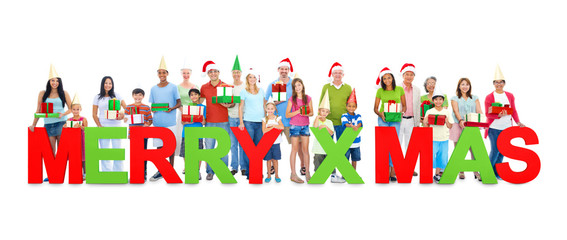 People Holding Word MERRY X'MAS