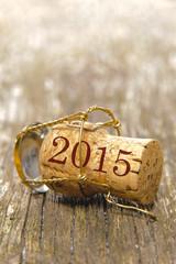 Champagnerkorken mit Jahreszahl 2015