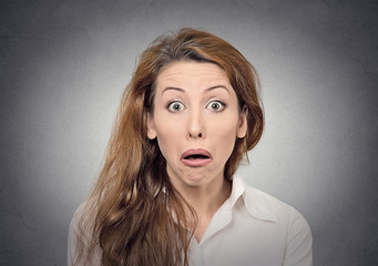 stupor portrait surprised woman with funny face expression