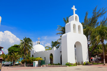 Typical white Mexican church in Playa del Carmen, Mexico