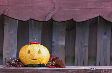halloween funny pumpkin with a smile in autumn leaves