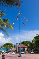 Voladores (acrobat perfomers) in Playa del Carmen, Mexico