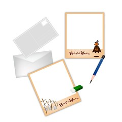 Halloween Postcard and Envelope with Pencil and Eraser
