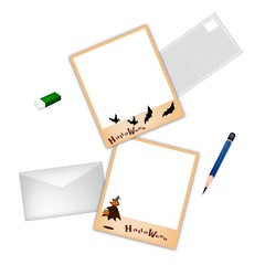 Happy Halloween Postcard and Envelope with Pencil and Eraser