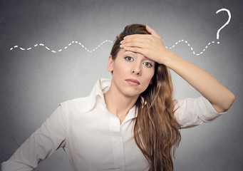 question woman can't solve the problem isolated grey background