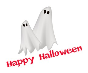 Two Happy Ghosts with Word Happy Halloween