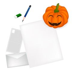 Pencil Lying on Blank Page with Halloween Pumpkin