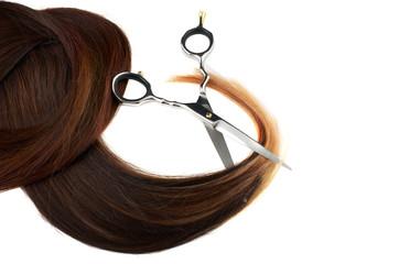 Scissors on human hairs