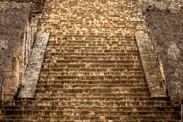 Staircase of the Acropolis in Ek Balam, Yucatan, Mexico