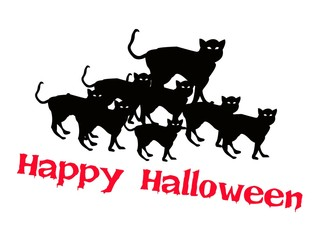 Three Evil Cat with Word Happy Halloween