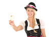 canvas print picture - Frau im Dirndl mit Sektglas