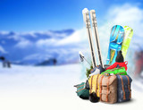 Baggage tourist skier and snowboarder, winter travel