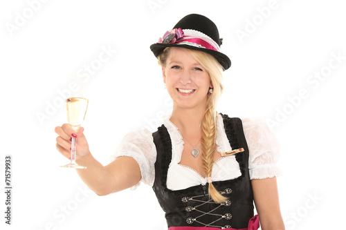 canvas print picture Frau im Dirndl mit Sektglas