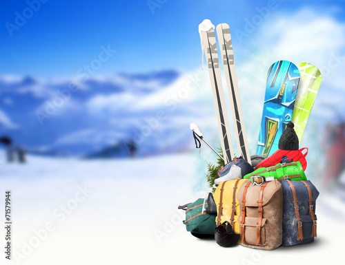 canvas print picture Baggage tourist skier and snowboarder, winter travel