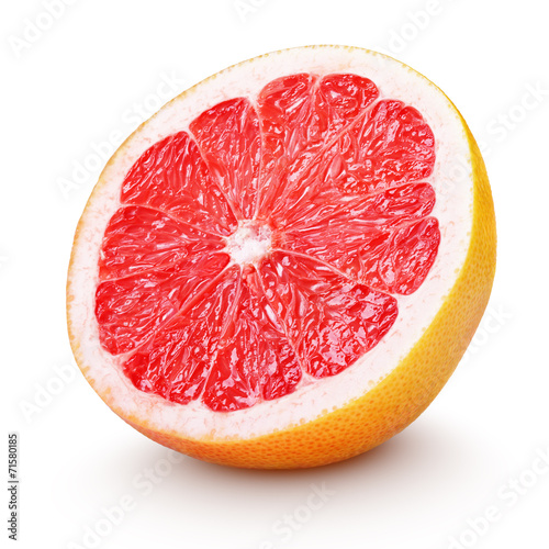 Fotobehang Vruchten Half grapefruit citrus fruit on white with clipping path
