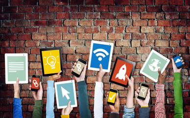 Hands Holding Digital Devices with Various Symbols
