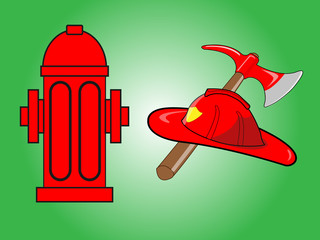 Firefighter helmet with crossed axe and Red fire hydrant