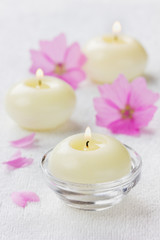 spa composition with flowers and candles