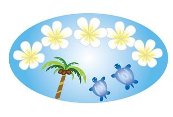 プルメリアの花とヤシの木とウミガメ