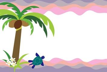 ウミガメとヤシの木とプリメリアの花の南国の海