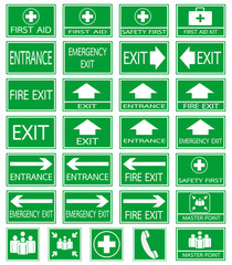 Green safty sign