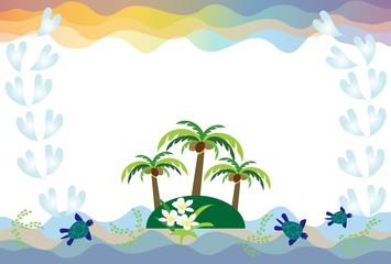 や篠木のある南国の島とウミガメと水色のハート