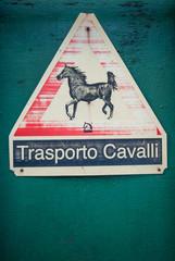 Cartello Attenzione Trasporto Cavalli, segnale