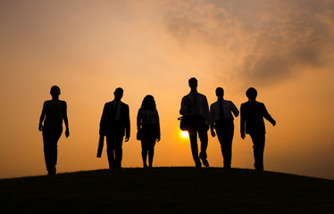 Silhouette Group of People on the Hill