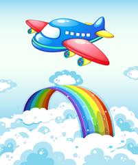 Airplane and rainbow