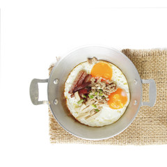 Healthy breakfast - fried eggs, ham, bacon, pork in the pan and