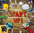 Aerial View of People and Startup Business