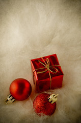 Red Christmas Ornaments on Faux Fur - Vintage