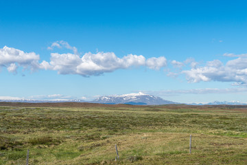 Scenic view of Icelandic landscape in summer.