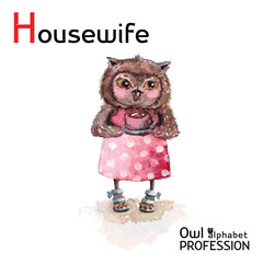Alphabet professions Owl Letter H - Housewife character Vector