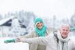 canvas print picture - winter senior couple