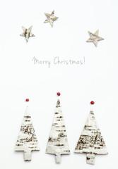 Christmas tree shaped birch bark. Greeting card  Merry Christmas