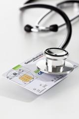 Gesundheitskarte, Stethoskop, Symbolbild