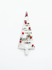 Christmas tree shaped birch bark. Greeting card